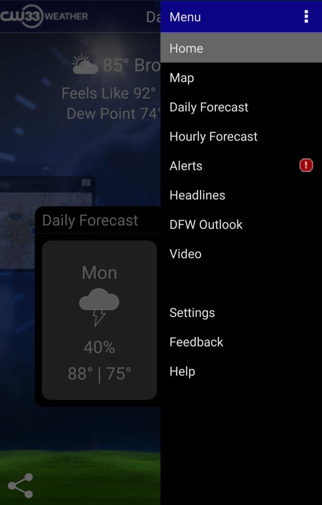 Weather App Menu