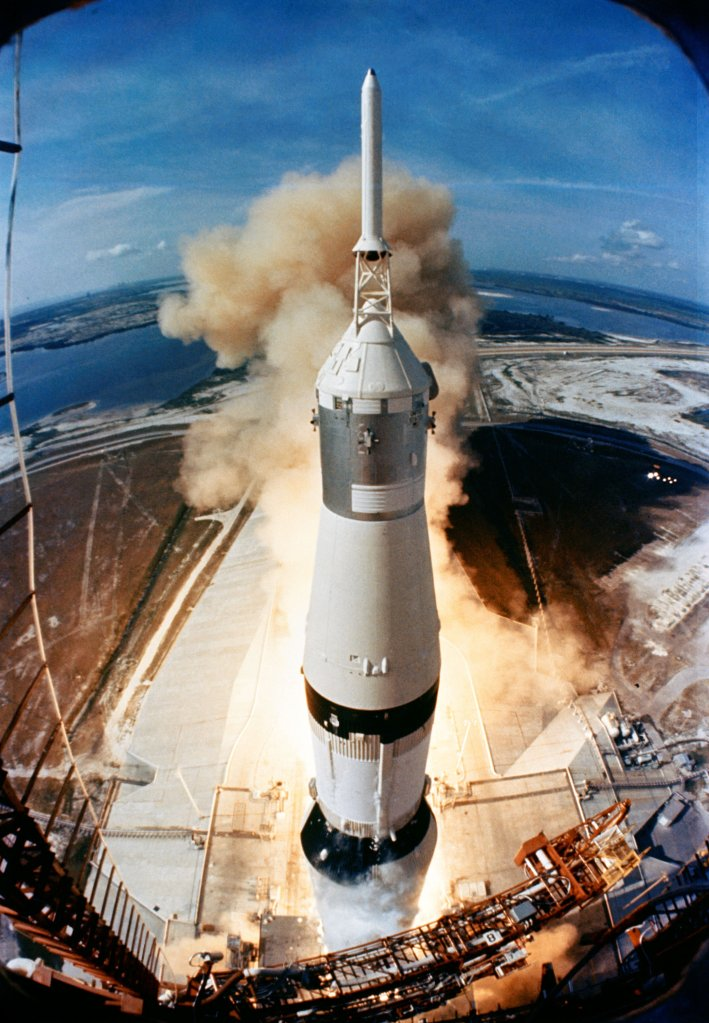 On July 16, 1969, the 363-feet tall Saturn V rocket launches on the Apollo 11 mission from Pad A, Launch Complex 39, Kennedy Space Center, at 9:32 a.m. EDT. Onboard the Apollo 11 spacecraft are astronauts Neil A. Armstrong, commander; Michael Collins, command module pilot; and Edwin E. Aldrin Jr., lunar module pilot. Apollo 11 was the United States' first lunar landing mission.