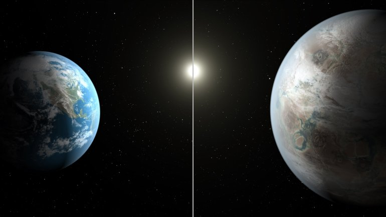 This artist's concept compares Earth (left) to the new planet, called Kepler-452b, which is about 60 percent larger in diameter.