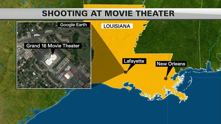 A shooting at the Lafayette, Louisiana, Grand 16 movie theater left three people dead, including the gunman, and nine others injured, law enforcement said Thursday night, July 23, 2015. This map depicts where the shooting incident took place.
