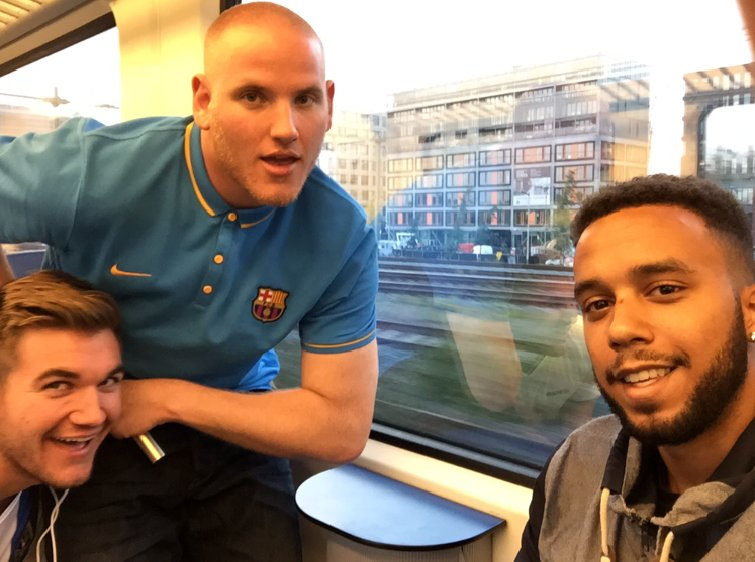Anthony Sadler, Spencer Stone and Alek Skarlatos were aboard a high-speed train en route to Paris from Amsterdam on Friday, August 21, 2015 when a gunman opened fire. Along with two others -- a French national and a Briton -- they charged, tackled and subdued him, officials said. Photo of Anthony Sadler, Alek Skarlatos, and Spencer Stone.