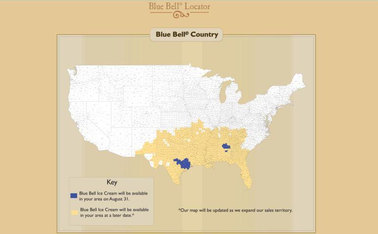 blue bell map