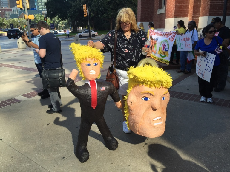 Protester With Donald Trump Pinata