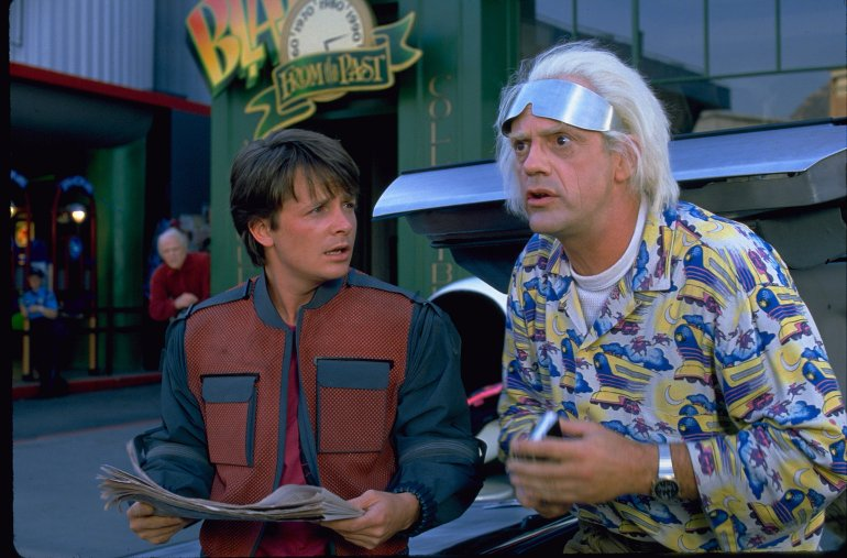 """In the 1989 film """"Back to the Future II,"""" Marty McFly traveled to Oct. 21, 2015, a future with flying cars, auto-drying clothes and shoes that lace automatically."""