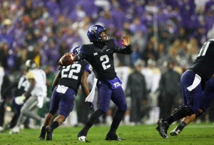 FORT WORTH, TX - NOVEMBER 27: Trevone Boykin #2 of the TCU Horned Frogs throws against the Baylor Bears in the first quarter at Amon G. Carter Stadium on November 27, 2015 in Fort Worth, Texas. (Photo by Ronald Martinez/Getty Images)