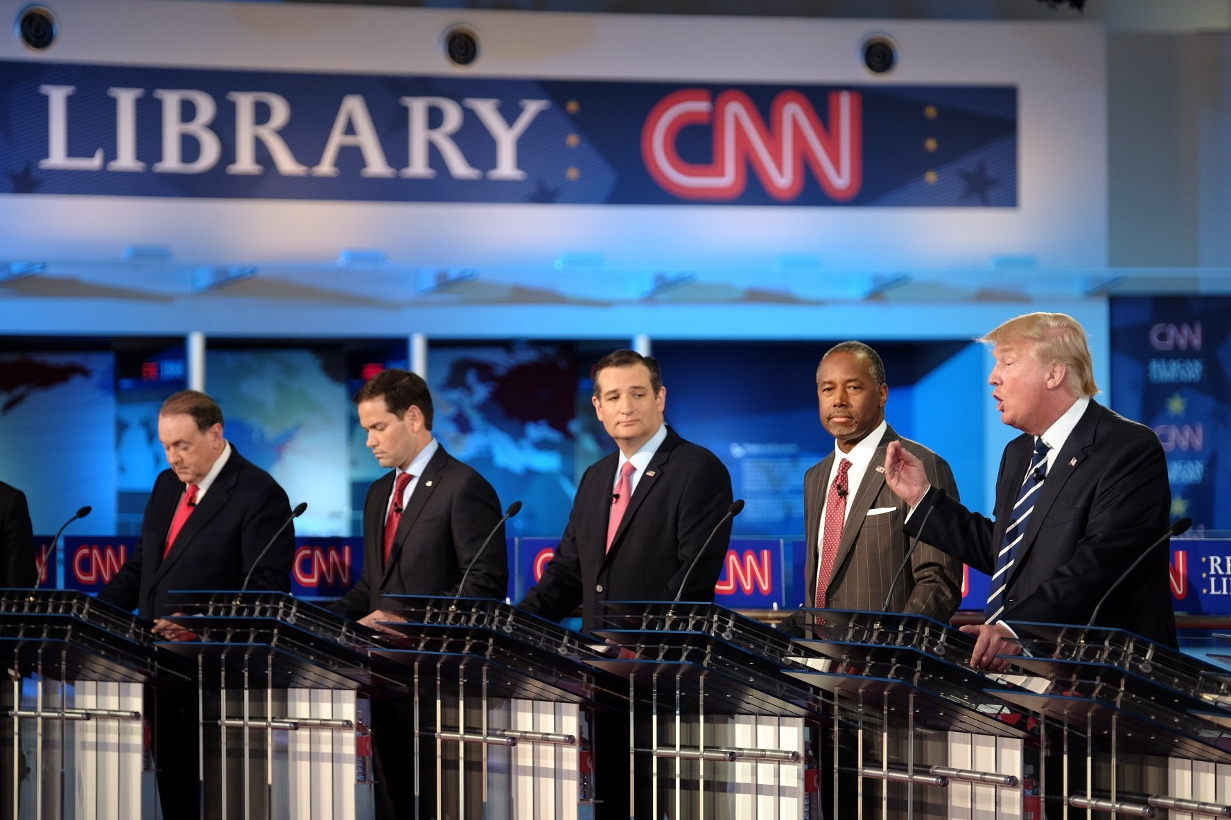 Three hours and 11 candidates later, the big winners for the CN Republican Presidental Debate include Carly Fiorina, Marco Rubio and Chris Christie. FILE -- Donald Trump responds to a question at the CNN Republican Presidential Debate in Simi Valley, California on September 16, 2015.