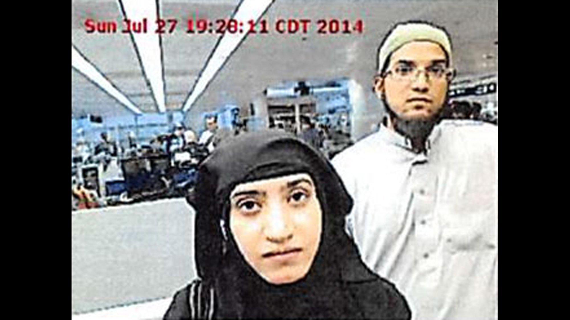 Tashfeen Malik and Syed Rizwan Farook were photographed at O'Hare Airport in 2014.