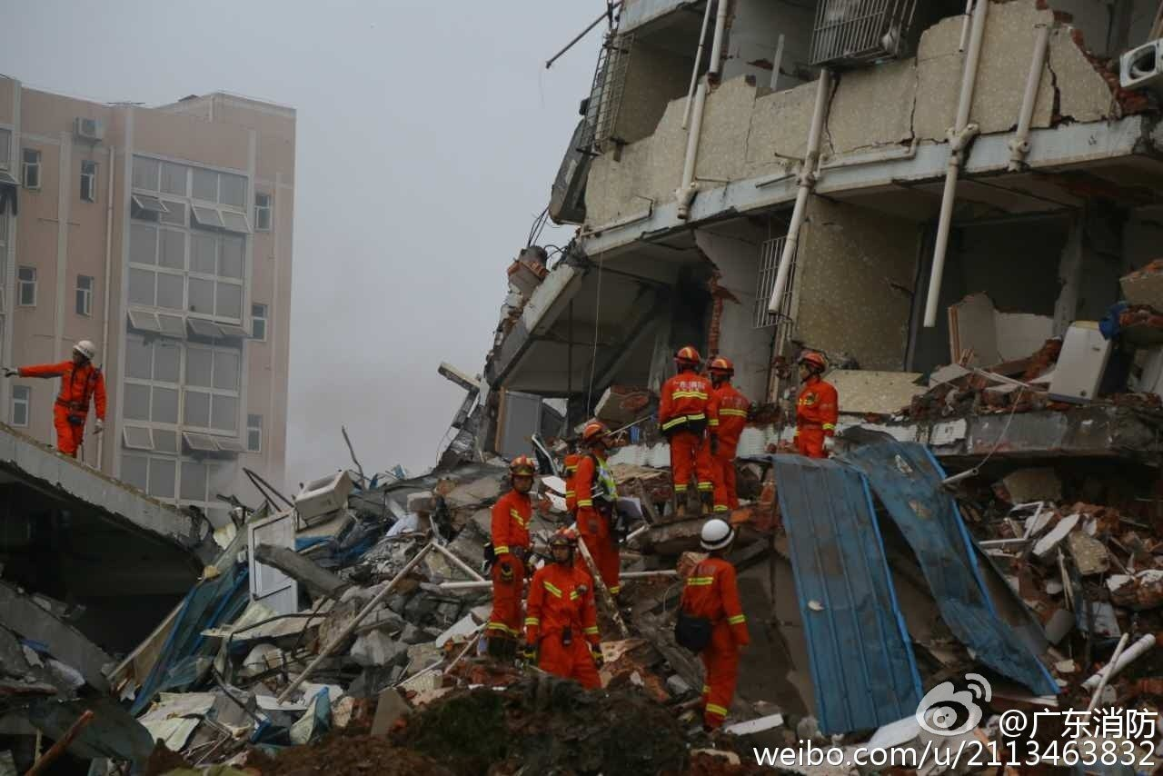 According to  the firefighting division of Guangdong Public Security Bureau, as of Sunday evening local time, 11 firefighting teams are participating in the search and rescue of victims trapped after the Shenzhen landslide. Among them there are 104 ambulances, 566 firefighters, 123 life detectors, four drones, and 30 search dogs.