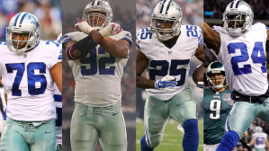 (L to R) Greg Hardy, Jeremy Mincey, Lance Dunbar and Morris Claiborne are all Free Agents this off-season.