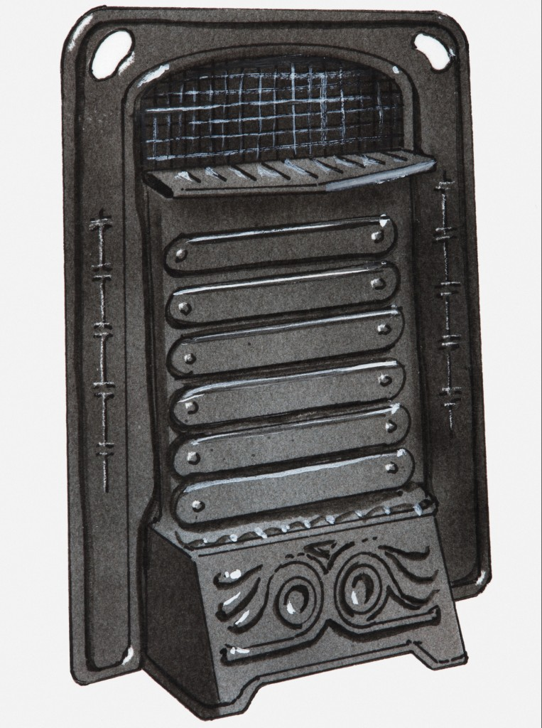 Illustration of early 20th century cast iron gas heater