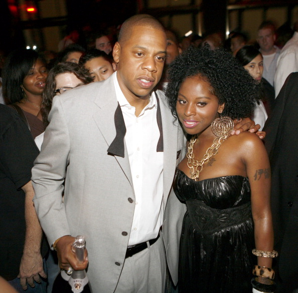"""Jay Z and Foxy Brown during Jay-Z Celebrates the 10th Anniversary of """"Reasonable Doubt"""" - Inside at Rainbow Room in New York, United States. (Photo by Shareif Ziyadat/FilmMagic)"""