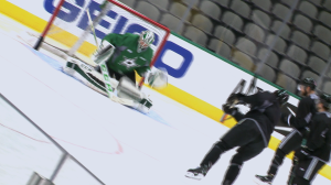 The Stars skate before their crucial final game of the regular season.