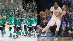 The Stars took a 2-0 lead in their playoff series, but the Mavs were demolished by OKC in their postseason opener.