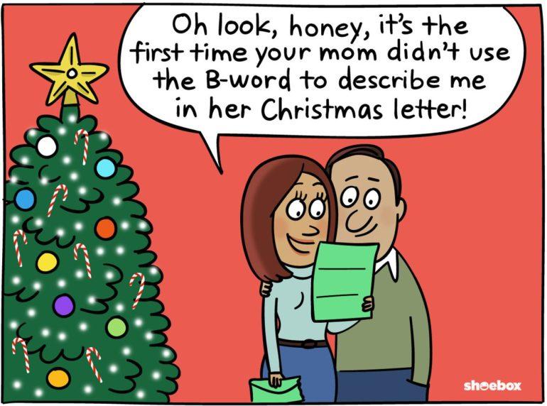 cartoon mom b word christmas card