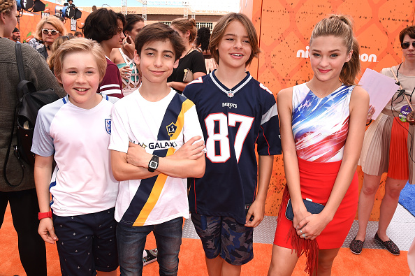 WESTWOOD, CA - JULY 14: (L-R) Actors Casey Simpson, Aidan Gallagher, Mace Coronel and Lizzy Greene attend the Nickelodeon Kids' Choice Sports Awards 2016 at UCLA's Pauley Pavilion on July 14, 2016 in Westwood, California. (Photo by Kevin Winter/Getty Images)