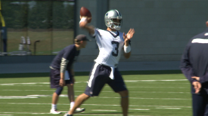 QB Mark Sanchez had his first practice as a Cowboy, just two days after being cut by the Denver Broncos.