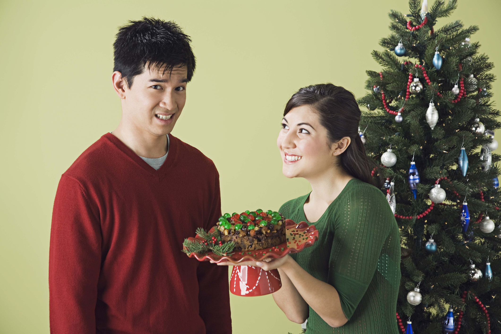 Couple with holiday dessert