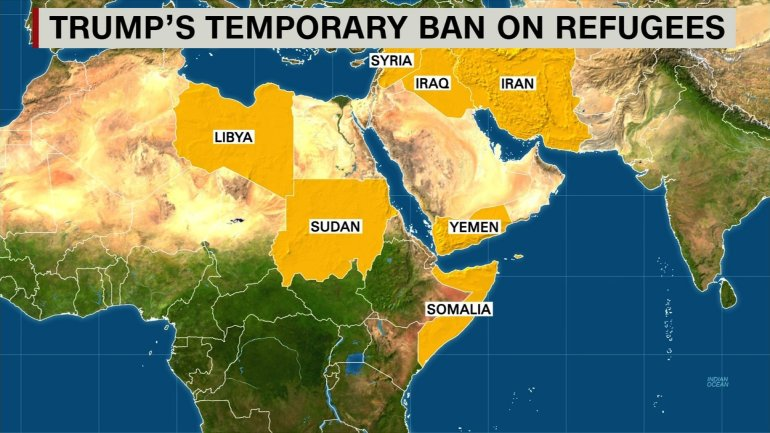 Map of countries on travel ban list.